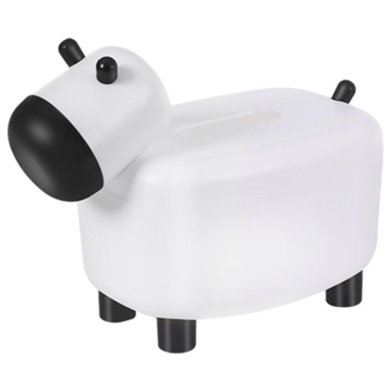 Hộp Đựng Khăn Giấy Để Bàn Hình Con Bò Sữa Kiêm Lọ Để Tăm Đa Năng