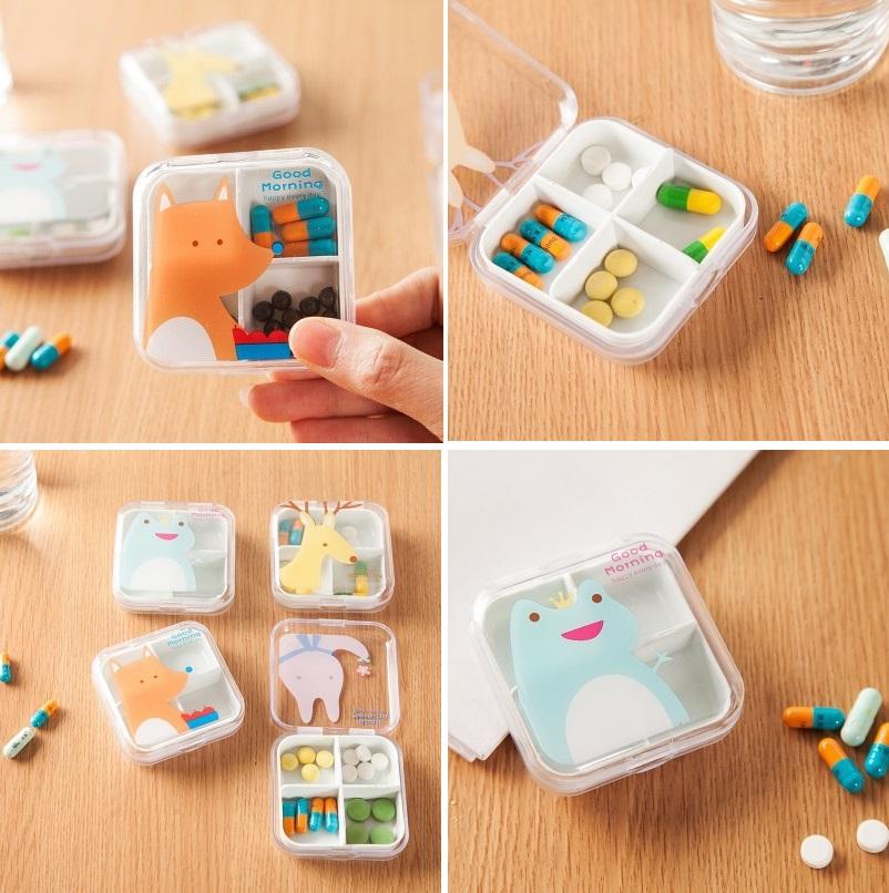 Hộp Nhựa Đựng Thuốc 4 Ngăn Hình Thú