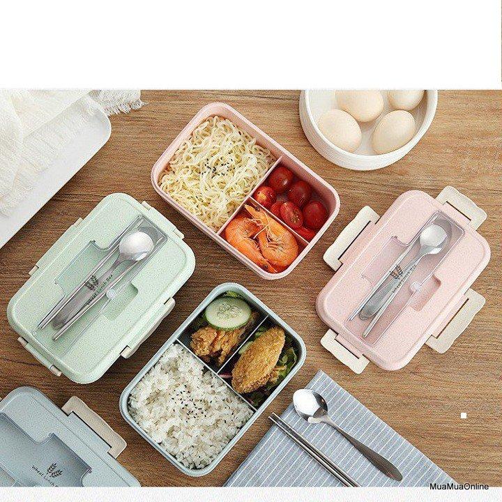 Hộp Đựng Cơm Lúa Mạch Lunch Box + Tặng Kèm Đũa Và Thìa Inox Cao Cấp