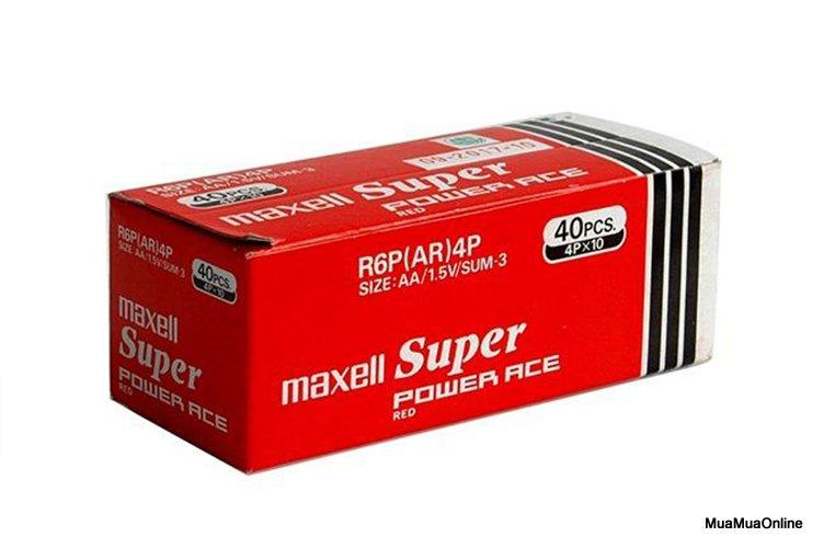Hộp 40 Viên Pin Tiểu AA (2A) Maxell Super 1.5V Cao Cấp