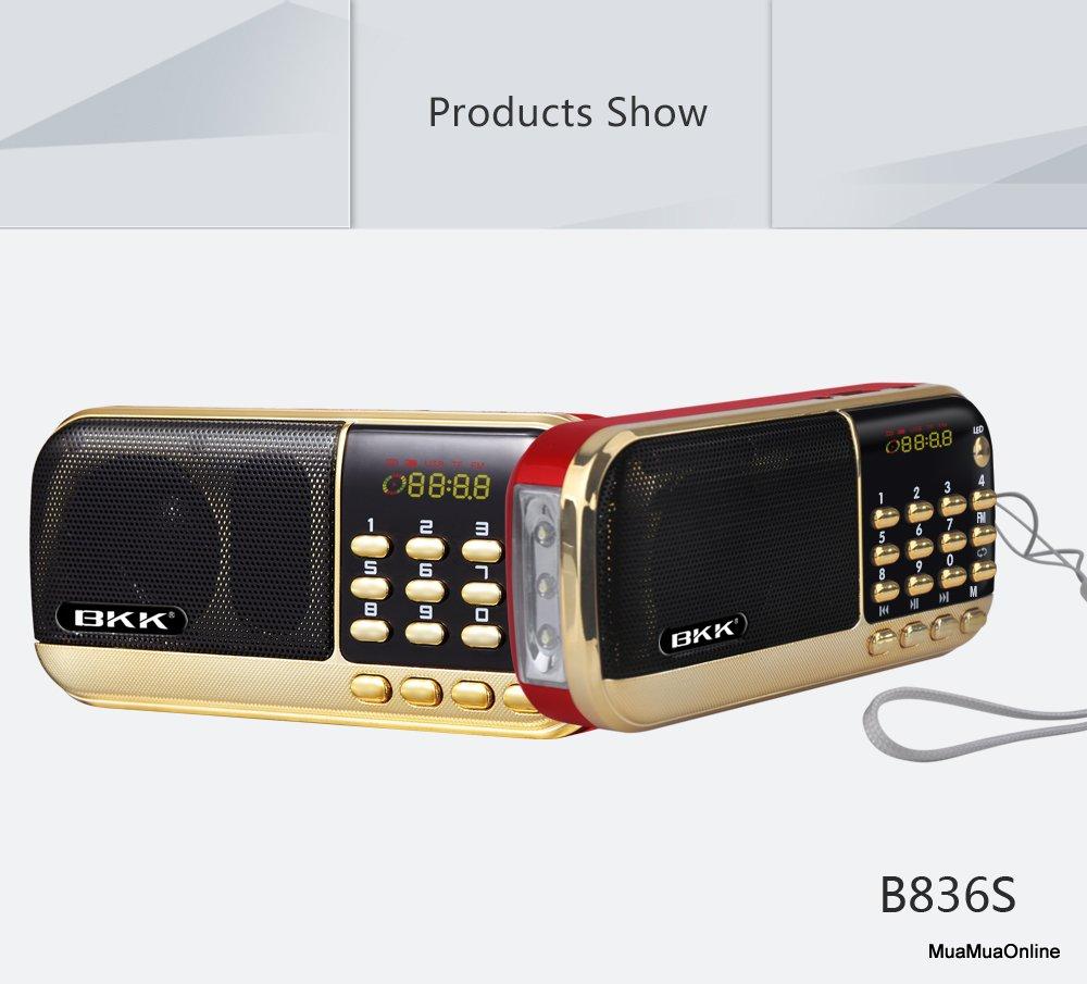 Loa Thẻ Nhớ FM BKK B836s Có Đèn Led Và Jack Cắm Tay Nghe Cao Cấp