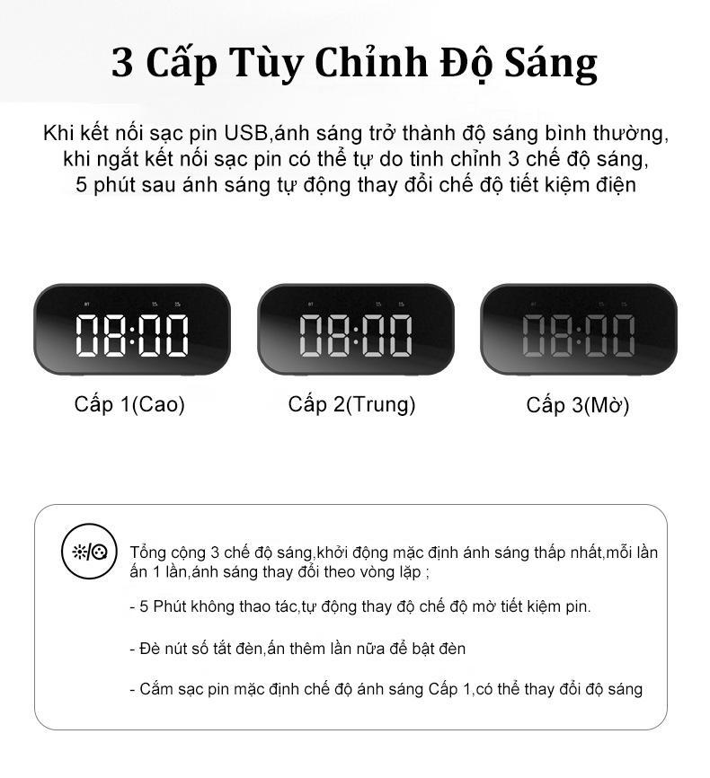 Loa Bluetooth 5.0 BT506F Kèm Đồng Hồ Mặt Tráng Gương Sang Trọng