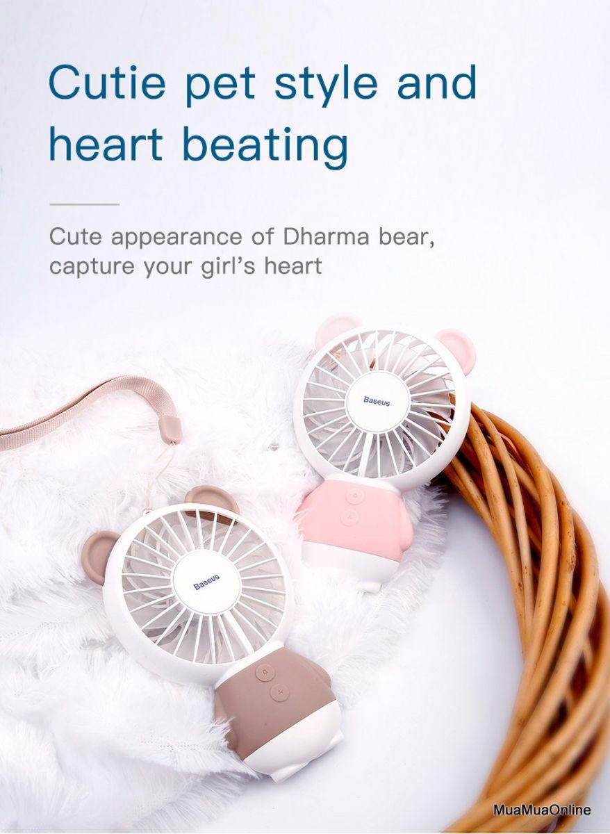 Quạt Mini Cầm Tay Baseus Hình Gấu Dharma Bear Lv078