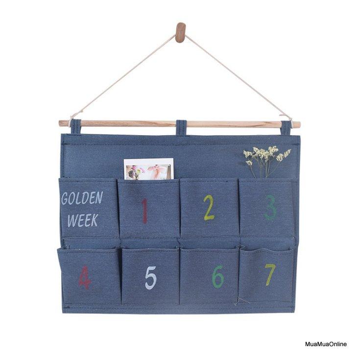 Túi Đựng Đồ Vải Bố Treo Tường 8 Ngăn Golden Week Cao Cấp