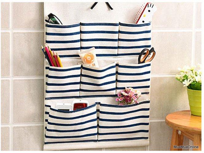 Túi Đựng Đồ Vải Bố Treo Tường 8 Ngăn Tiện Dụng