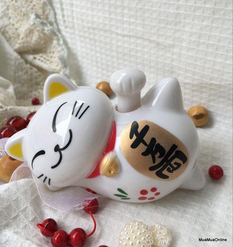 Tượng Mèo Nằm Vẩy Tay May Mắn