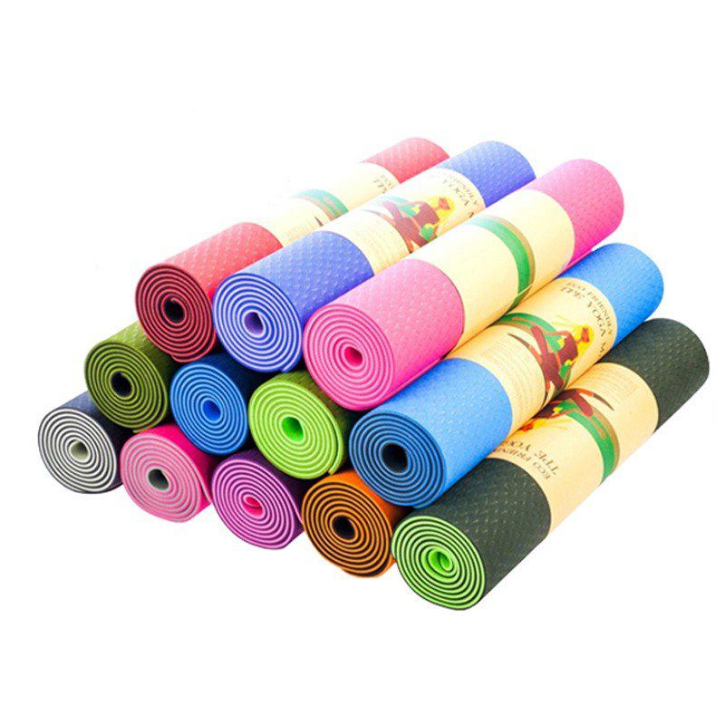 Thảm Tập Yoga TPE 2 Lớp Hoa Văn 61x183cm Dày 6 Ly
