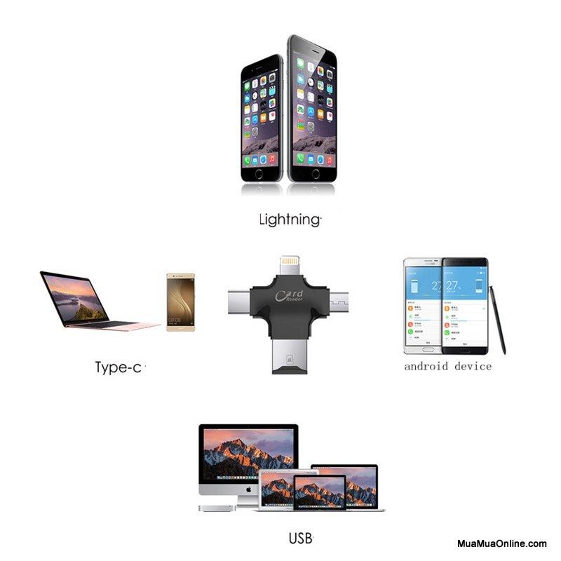Usb Otg Card Reader Đa Năng 3 Trong 1 Cho Iphone, Android, Type C (Đọc Thẻ Nhớ, Mở Rộng Bộ Nhớ, Sao Chép Dữ Liệu)