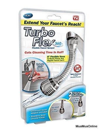 Đầu Vòi Nước Tăng Áp Turbo Flex Cho Vòi Bồn Rửa Xoay 360 Độ Tiện Dụng