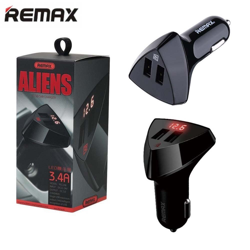 Tẩu Sạc Xe Hơi 2 Cổng Usb Remax Aliens Có Lcd Chính Hãng