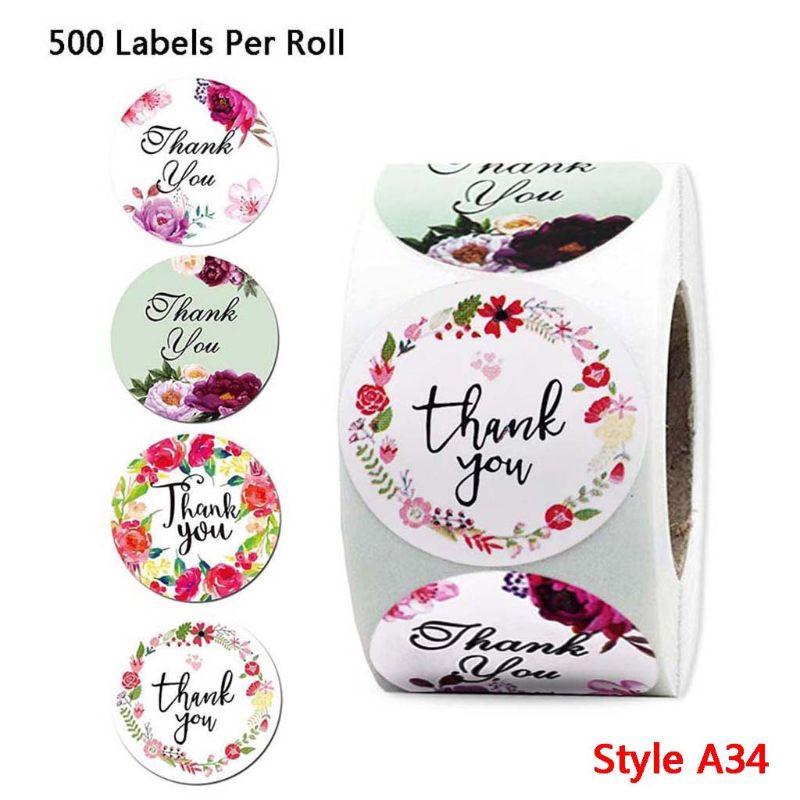Cuộn 500 Nhãn Dán Sticker Thank You Nhiều Mẫu Tiện Lợi