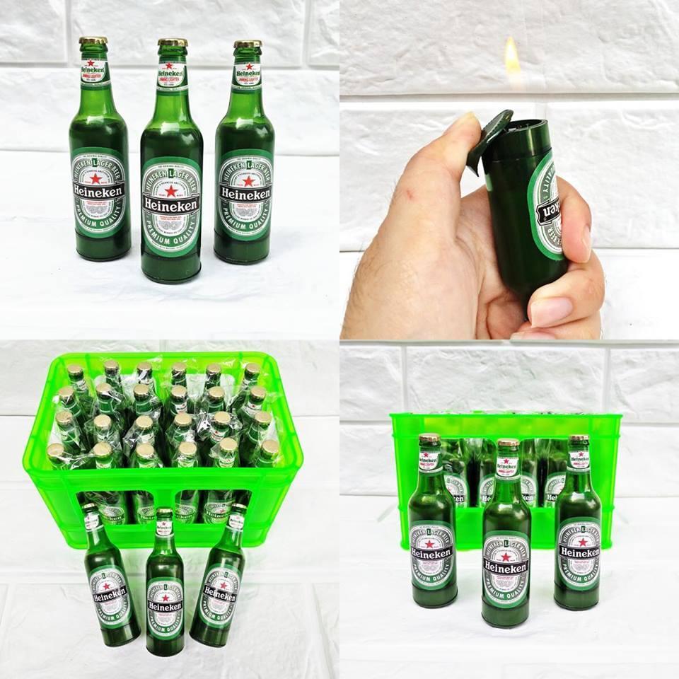 Hộp Quẹt Bật Lửa Hình Chai Bia Heineken Cao Cấp