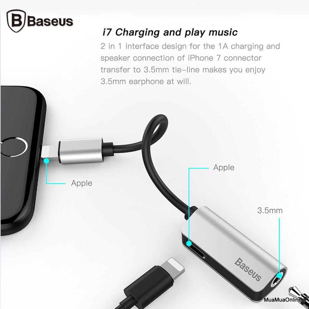 Bộ Chuyển Cổng Lightning Sang Audio Tích Hợp Baseus Cho Iphone 7/ 8/ Iphone X