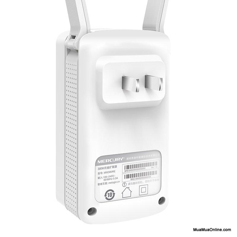Bộ Kích Sóng Wifi Mercury Mw300Re 300Mbps 2 Ăngten Chính Hãng