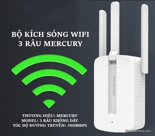 Bộ Kích Sóng Wifi 3 Râu Mercury 300Mbps Cực Mạnh