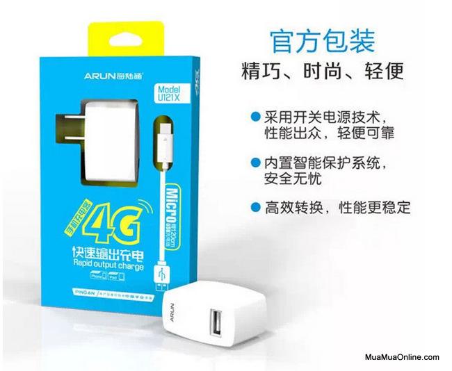 Bộ Sạc Arun U121X Micro Usb Samsung, Htc, Lg, ... Chính Hãng