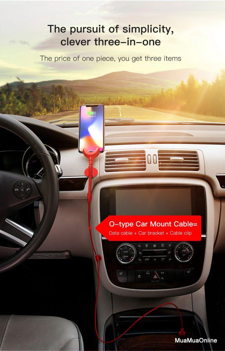 Cáp Sạc Lightning Tích Hợp Giá Đỡ Điện Thoại Gắn Trên Xe Hơi Dùng Cho Iphone Baseus O-Type Car Mount Cable