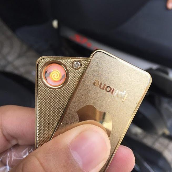 Hộp Quẹt Bật Lửa Dinuo Iphone Dùng Pin Sạc Có Móc Khoá