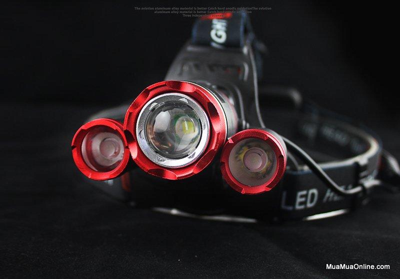 Đèn Pin Đội Đầu 3 Bóng 3Xcree T6 Siêu Sáng