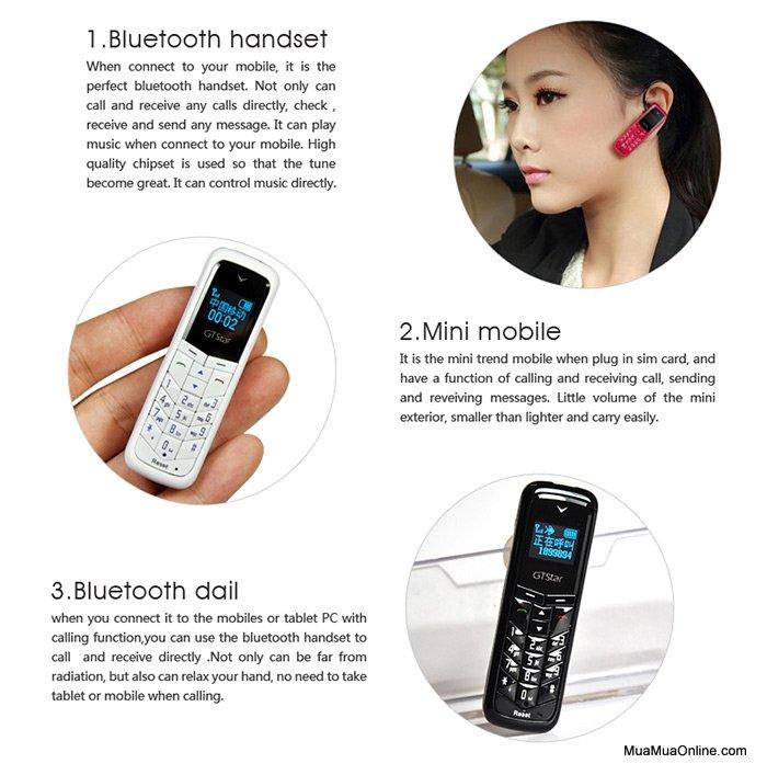 Điện Thoại Siêu Nhỏ Kiêm Tai Nghe Bluetooth G-Star Bm50