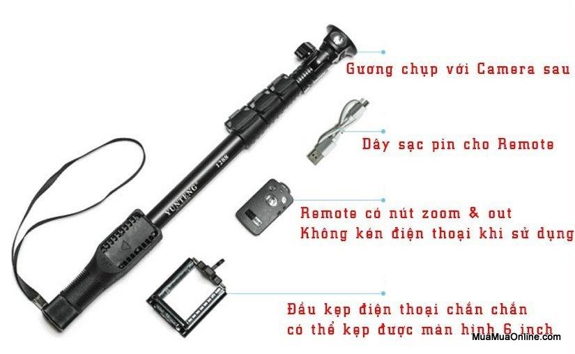 Gậy Chụp Hình Bluetooth Yunteng 1288 Cao Cấp Kiêm Gậy Tự Vệ