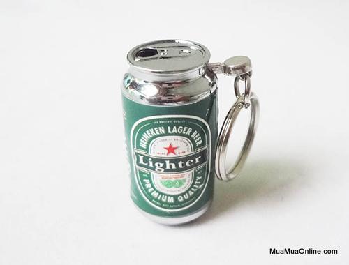 Hộp Quẹt Bật Lửa Hình Lon Coca, Heineken Có Móc Khoá