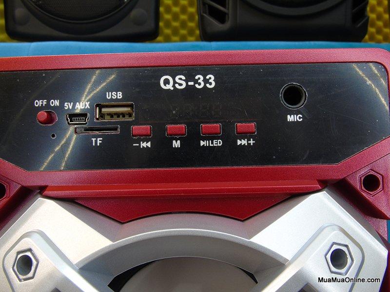 Loa Bluetooth Qs-33 Có Led 2 Loa Lớn Cực Hay Tặng Kèm Mic