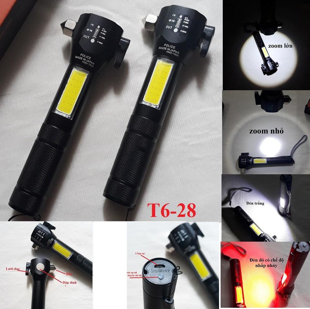 Đèn Pin Cứu Hộ Đa Năng Siêu SÁng T6-28 Có Dao Cắt