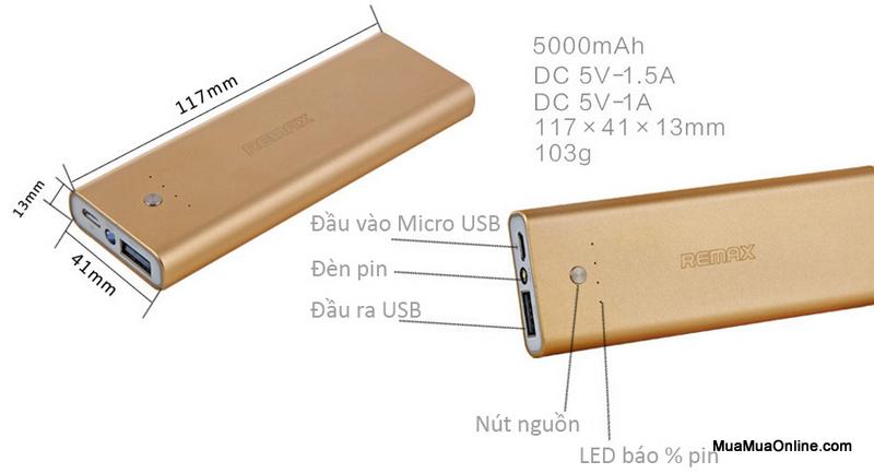 Pin Sạc Dự Phòng Remax Vanguard 5000Mah Chính Hãng