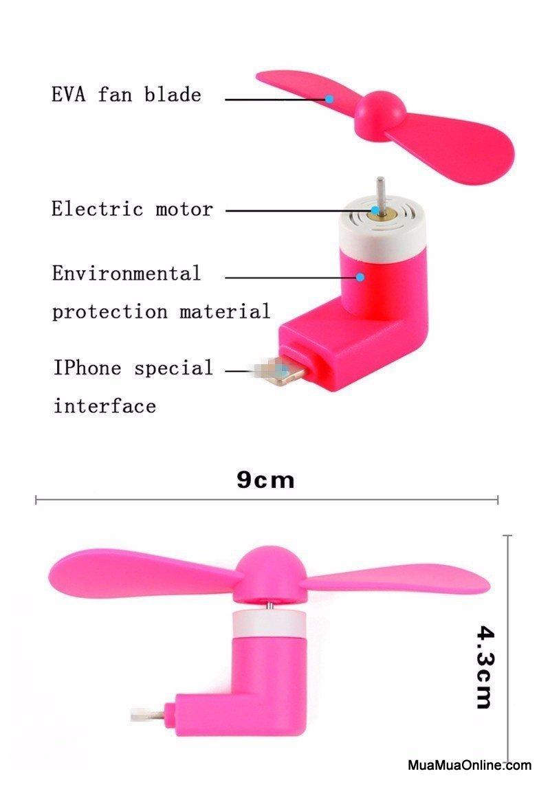 Combo 2 Quạt 2 Cánh Mini Cắm Nguồn Iphone