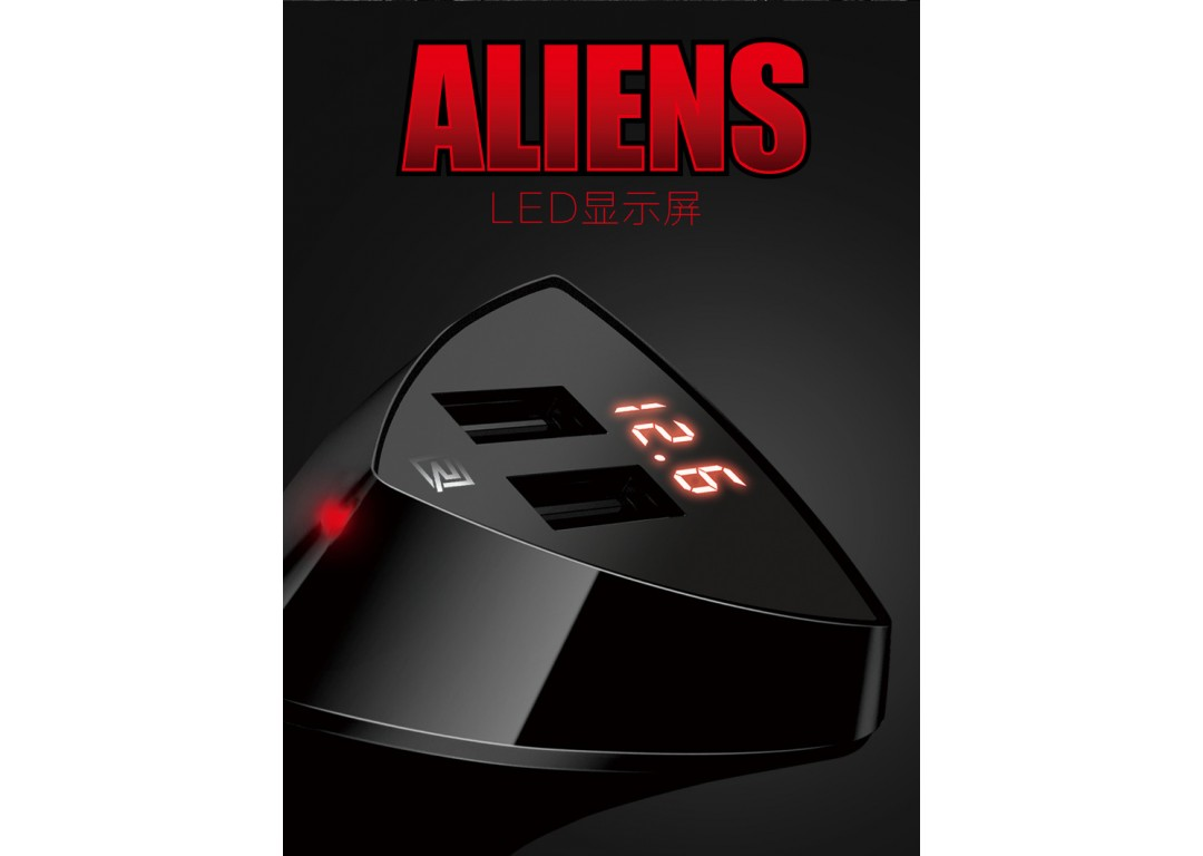 Sạc Xe Hơi 2 Usb Remax Aliens 3.4A Chính Hãng