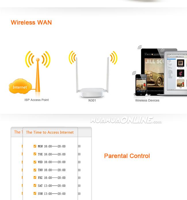 Thiết Bị Phát Sóng Wifi Tenda N301 300Mbps Chính Hãng