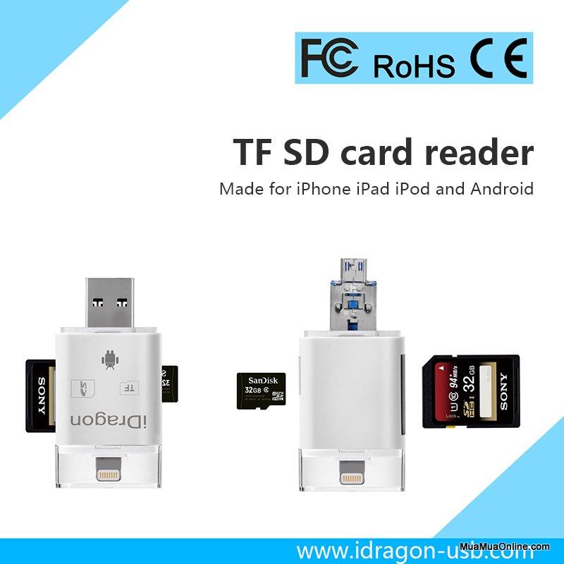 Usb Otg Ireader Đa Năng 3 Trong 1 Cho Iphone Và Android (Đọc Thẻ Nhớ, Mở Rộng Bộ Nhớ, Sao Chép Dữ Liệu)